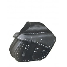 Three-Strap Slanted Saddle Bags with Studs