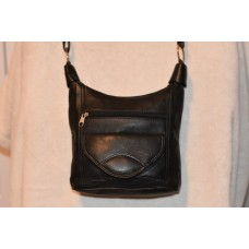 Leather Handbag with 6 Compartments and Shoulder Strap