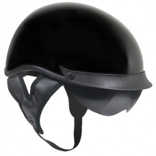 Outlaw T-72 Gloss Black DOT Half Helmet with Dual Visor