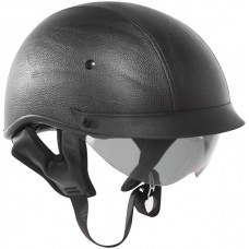 Outlaw T-72 Leather DOT Half Helmet with Flip-Down Sun Visor