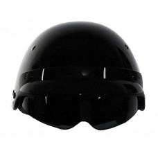 Vega Gloss Black DOT Half Helmet with Flip-Down Visor