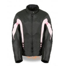 Black & Pink Textile Jacket with Side Laces